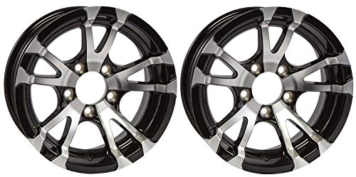 14 Car Rims - 2-Pack Aluminum Trailer Rims Wheels 5 Lug 14 in. Avalanche V-Spoke/Black
