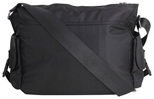 Peter Werth Nevinson nailon bolso bandolera, interior y exterior seguro bolsillos negro