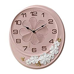 MGE UPS Systems Clock Wall Clock,Oval Resin Rose Wall Clock Living Room Kitchen Muffler Hanging Clock Wall Clock Wall Plates with Arabic Numbers (Color : Pink, Size : 12inch)