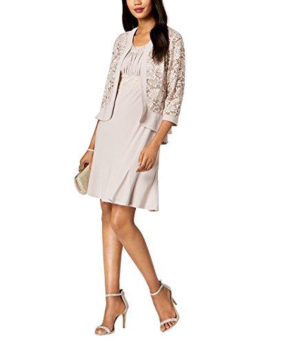 R&M Richards Women's 2 Piece lace Jacket Dress, Champagne, 14