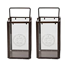 Large Metal and Glass Candle Flameless Candle Holder - 2 Pack Lanterns