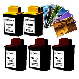 LD Lexmark #70 & #20 Remanufactured Combo Set - 3 Black #70 (12A1970) and 2 Color #20 (15M0120) + Free 20 Pack of LD Brand 4x6 Photo Paper (Inkjet Color 15m0120 Lexmark)