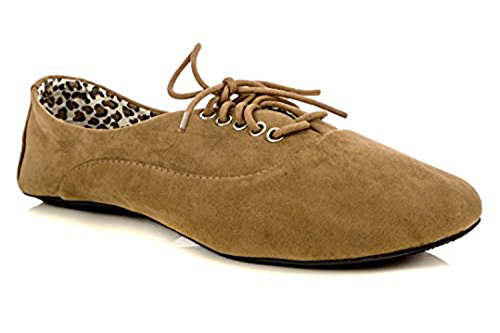 Nib New Womens Shoes - Women's Jersey Lace Up Oxford Sneaker Flats (10, Taupe)