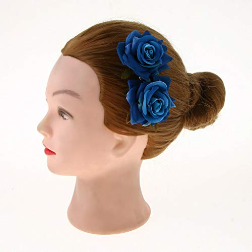 BROSCO Hair Accessories Women Girls Bridal Hair Side Comb with Artificial Flowers | Color - Blue