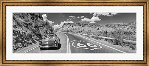 (Vintage car Moving on Route 66 in Black and White, Arizona by Panoramic Images Framed Art Print Wall Picture, Wide Gold Frame, 50 x 22 inches)
