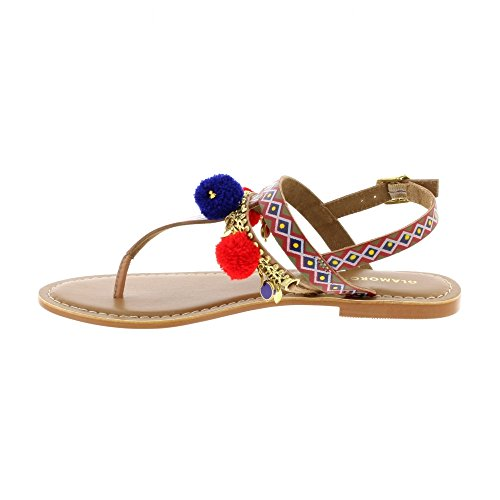 FW2162 Pom Pom Printed Sandals - Red Multi