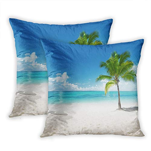 Houlor Set of Two Throw Pillow Covers Palm On The Beach Dominican Republic 20 x 20 Inches Cushion Square Pillowcase Decoration for Living Room Bedroom Dorm Hidden Zipper