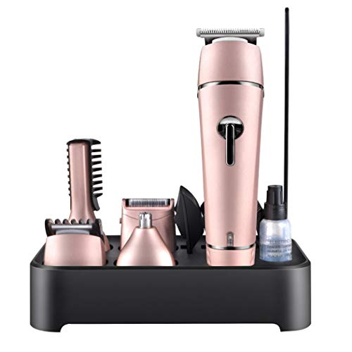 LCPTJ Cordless Hair Clipper, Beard Razor, Rechargeable Body Beauty Kit for Male Jaw and Nose Trimmer (Color : Pink)