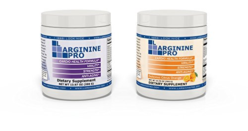 L-arginine Pro, 1 Now L-arginine Supplement - 5,500mg of L-arginine Plus 1,100mg L-Citrulline + Vitamins & Minerals for Cardio Health, Blood Pressure, Cholesterol, Energy (Berry & Orange, 2 Jars)