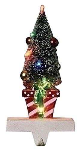 Roman LED Lit Bottle Brush Look Tree on Present Christmas Stocking Holder Hanger, 10.5