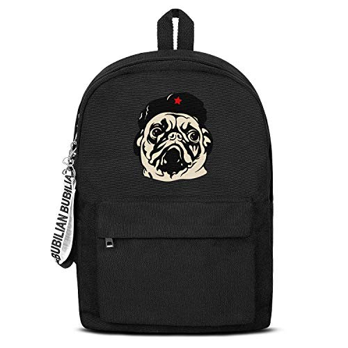 Obey the Pug Che Guevaras Women Men Water Resistant Black Canvas School Backpack Student Backpack