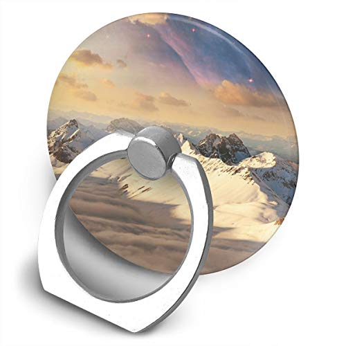 (Cell Phone Finger Ring Holder Snow Mountain Picture 360 Degree Rotating Stand Grip Mount Phone Bracket)
