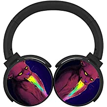 Hangovers Multicolor Folding Design Wireless Bluetooth Headphones Running with Mic Over Ear, Headsets for IPhone, IPad, Smartphone and TV, 3.5mm Plug Black