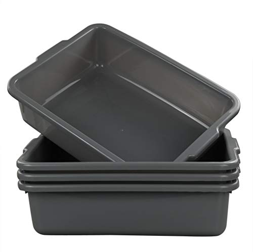 Eagrye 4-Pack Bus Tubs, Commercial Tote Box, Plastic Bus Box (13 L Capacity), Grey ()