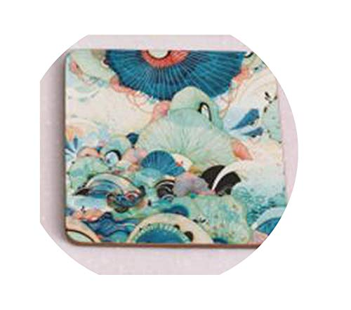 Chery-Story 1pcs Wood Coasters Cup drinks Holder Non-slip heat proof coffee drink Coasters Mat Pad hand painted,Square 4