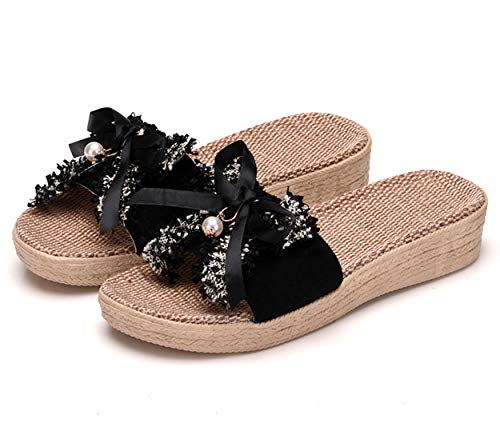 ba knife House Slippers for Women Memory Foam Ribbon Big Bow Linen Sandals Black 39-40 ()