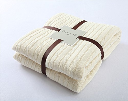 Knitted Throw Blanket, LakeMono 100% Natural Cotton Thickening Warm & Cozy Crocheted Cover Quilt Suit for Teens and Children Sleeping or Reading Apply on All Seasons (59×79 Inches, Creamy-white)