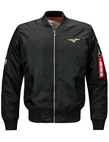 Yeokou Men's Casual Stand Collar Short Zipper Flight Pilot Aviator Bomber Jacket (Large, Black) by Yeokou