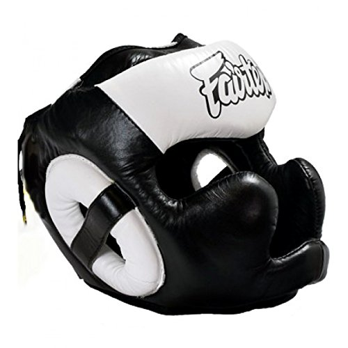 Fairtex HG-13 Full Coverage Headguard HeadGear Helmet Boxing Head Guard Thai Boxing K-1 MMA Head Gear Guard Protective Muay Thai (Black White, Large)