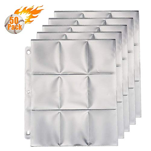 Trading Card Sleeves Binder 450 Pockets, Card Collector Coin Holder Storage Album Pages Protectors (50 Pages,Per 9 Pockets)
