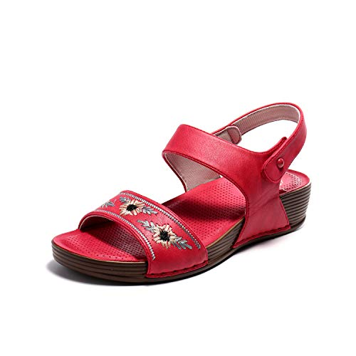 (Alexis Leroy Women's Open Toe Comfort Embroidered Low Wedge Sandals Red 8-8.5 M US)