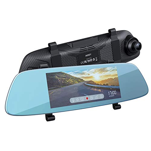 AUKEY Mirror Dash Cam 6.8 inches LCD Touchscreen Car Camera with 1080P Front Camera and 720P Water-Resistant Rear Camera Backup Camera with Parking Mode, Motion Detection, G-Sensor, Loop