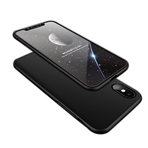 ANERNAI iPhone X Case 360 Degree Full Body Protection 3 in 1 Slim Case,with Tempered Glass Screen Protector for iPhone X (Black) by ANERNAI