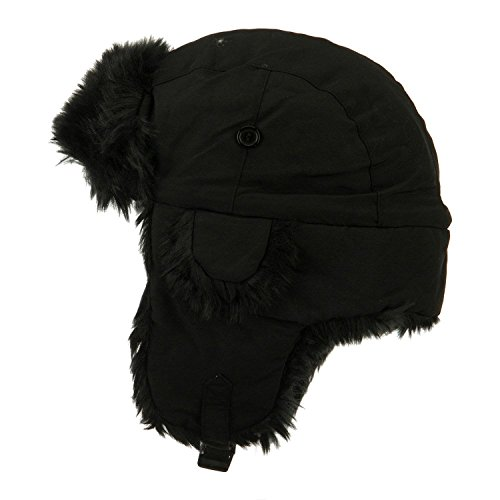 Winter Aviator Faux Fur Trooper Trapper Hat (Black, Large/X-Large)