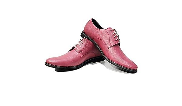 Modello Piko - 43 EU - Cuero Italiano Hecho A Mano Hombre Piel Rosado Zapatos Vestir Oxfords - Cuero Cuero Repujado - Encaje 6PB8aVPWY