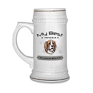 Custom Beer Mug My Best Friend Is Pyrenean Mastiff Dog Ceramic Drinking Glasses Beer Gifts White 18 OZ Design Only 4