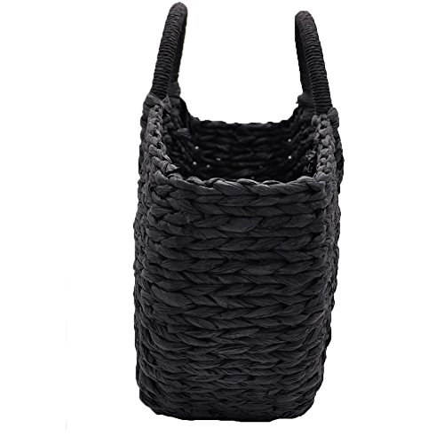 Handmade Straw Bag Round Chic For Ring Handle Beach Black Tote Summer Woven Women Casual Ladies Hand Natural Retro Handbag Z0qwq