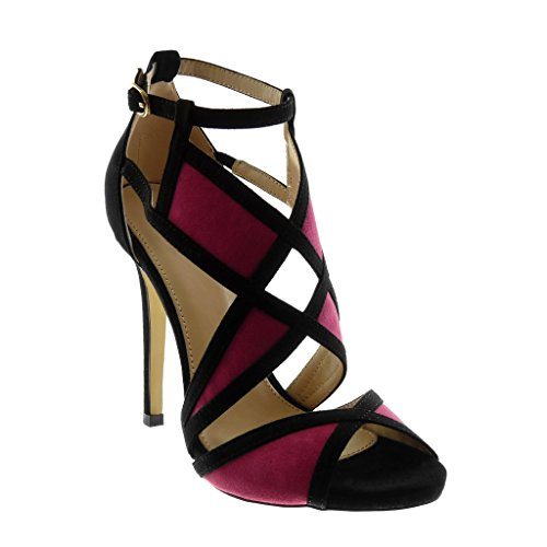 Haut Escarpin 5 Lanière cm Toe Angkorly Fuschia Aiguille Talon Mode Bicolore 11 Sandale Femme Stiletto Cheville Chaussure Peep Lanière Ctt4qwaOBx