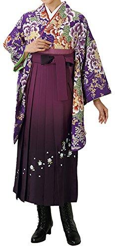 養うシンプルさスツール踊り衣裳 二尺袖袴下着物 淡印 紫×赤 卒業式レディース 洗える着物