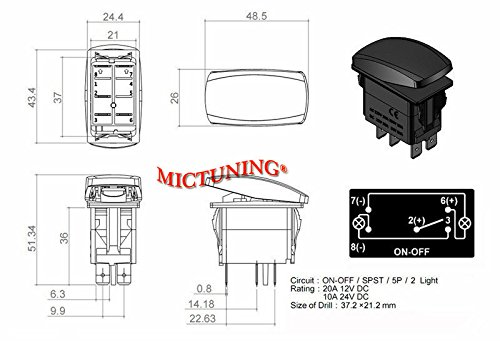 Mictuning pin laser zombie rocker switch on off led light
