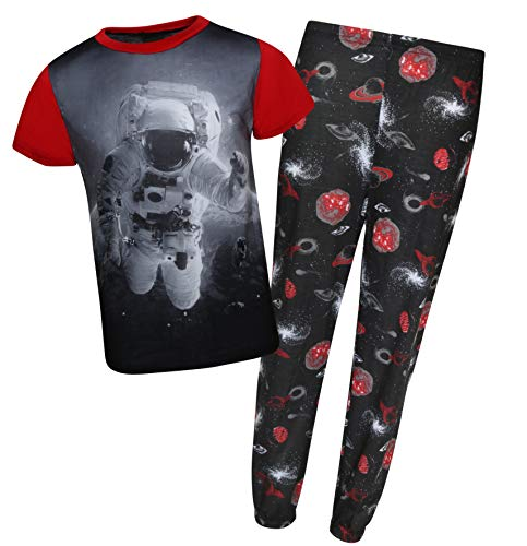 (Quad Seven Boys Short Sleeve Graphic Sublimation Pajama Set (12/14, Red Space)')