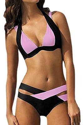 Knight Horse Women Sexy Criss Cross Bandage Push Up Block Padded Bikini Swimsuit