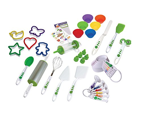 Real Kitchen Tools and Cookbook for Kids - Curious Chef 38-piece Cookie & Cupcake Kit, , Green