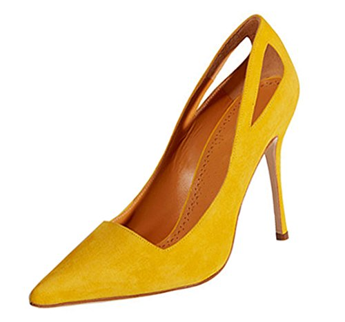 Women's Shoes Out Yellow Pumps Solid Pointed Stiletto Honeystore Heels toe Color Hollow dOwqxHC