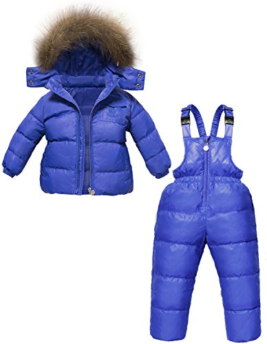 ZOEREA 2 pcs Unisex Kids Girls Snowsuit Hooded Puffer Jacket Snow Pants (Label XXL/Height 41.34-45.28 inch, -