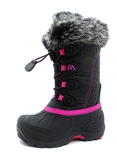 ICEFACE Kids Winter Snow Boots Waterproof and Insulated for Girls and Boys (5 M US Big Kid, Pink)