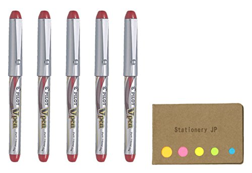 Pilot V Pen (Varsity) Disposable Fountain Pen, Fine Point, Red Ink, 5-Pack, Sticky Notes Value Set
