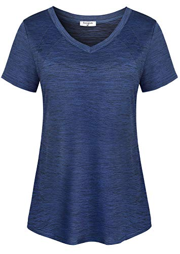 Soogus Womens Sports Tops, Feminine Workout Shirts Short Sleeve V Neck Athletic Yoga Shirts Heather Moisture Wicking T-Shirt Fitness Tunics Lightweight Baseball Volleyball Games Tee Steel Navy Blue L