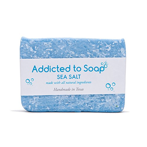 Addicted to Soap - Old Fashioned Natural Shampoo Bar 5 Ounces Eco-Friendly Solid Bar Shampoo for Men & Women Organic Coconut Oil Sulfate Free Leaves Hair Shiney Soft (Sea Salt Shampoo Bar)