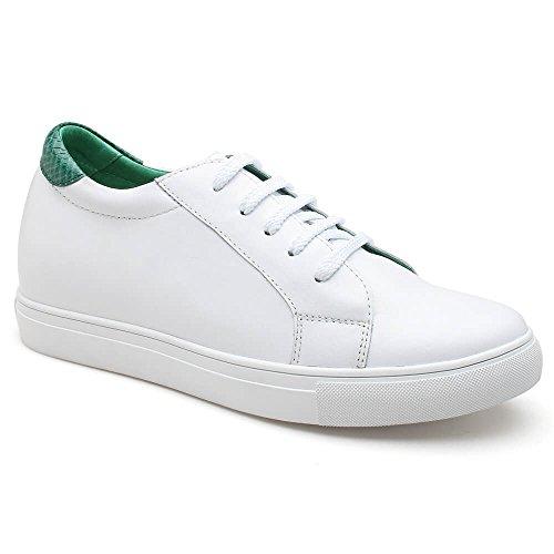 CHAMARIPA Scarpe da Basket con Rialzo Uomo Pelle Sneaker Fino a 6 cm H72C55K121D verde