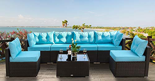 Urest 7 Pieces Patio PE Rattan Sofa Set Outdoor Sectional Furniture Wicker Chair Conversation Set with Cushions and Tea Table