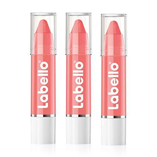 Labello Lips2Kiss Coral Crush im 3er Pack (3 x 3g), Lippenpflegestift mit intensiver Farbe, feuchtigkeitsspendende Lippenpflege, korallrot