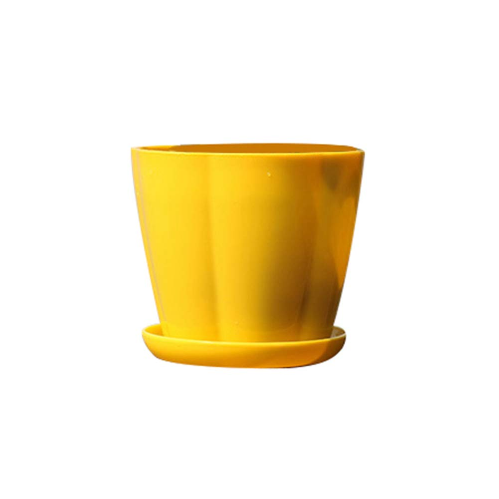 LUYANhapy9 Flower Pot Planter Pot, Small Pumpkin Shape Plastic Imitation Porcelain Flower Pot Succulent Garden Planter Stand Yellow XS