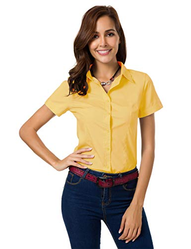 Womens Formal Button Down Shirts Short Sleeve Shirts Slim Fit Blouse for Work Summer Tops (Medium, ()