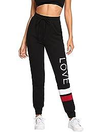 4e669ce1d5cd4 Women Pants Color Block Casual Tie Waist Yoga Jogger Pants