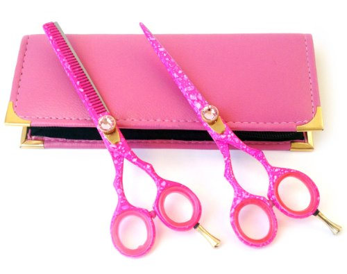 Barber Salon Hair Cutting Tools Set with Case (Pink) - 5